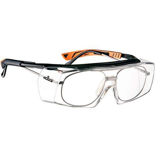 NoCry Over-Spec Lunettes de sécurité avec verres rayures enveloppante, avec certification ANSI Z87et OSHA et branches réglables et protection contre les rayons UV 400, Noir et Orange 1