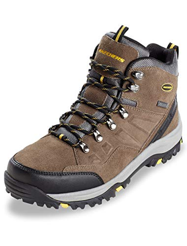 Athletic Suede Hiking Boots - Skechers Men's Relaxed Fit Relment - Pelmo Khaki Suede Boot 15 D (M)