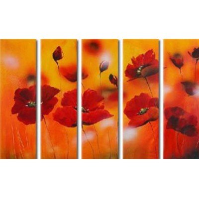 Sangu 100% Hand Painted Wood Framed 5-piece Hot Sale Red Little Flowers Oil Paintings Gift Canvas Wall Art Paintings For Living Room.