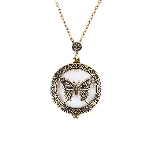 (Sttech1 Vintage Antique Bronze Magnifier Pendant Necklace Magnify Glass Reeding Decorative Necklace Long Sweater Chain (I Butterfly))