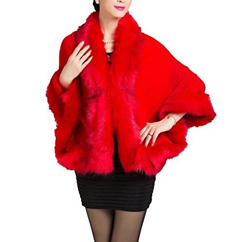 Floral Renard Casquette Avec Châle De Manteau Rouge Vif Fourrure Fausse Femmes 8xq6HH