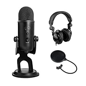 Blue Yeti USB Microphone (Blackout) with HPC-A30 Studio Monitor Headphones & Pop Filter Bundle