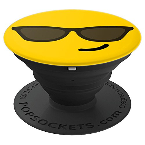 Emoji Sunglasses Face Pop Socket - Emoticon Cool Smiley - PopSockets Grip and Stand for Phones and ()