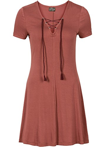 Damen Skater Kleid in Gr. 36 38 Mahagoni Rot Stretch Schnürung 908687 EMOkd5