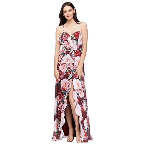 Floral Chiffon Wrap Dress with Cascading Ruffle Style 59588D, Wine Multi, 10