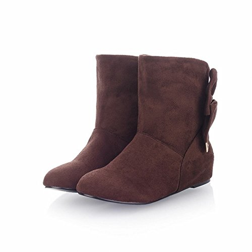 Carol Shoes Women's Elegant Concise Flat Bows Hidden Heel Short Snow Boots Brown AeMkw9lXg