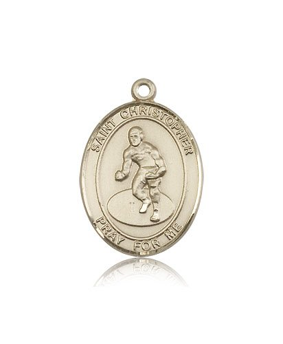 ReligiousObsession's 14K Gold St. Christopher Wrestling Medal by Religious Obsession