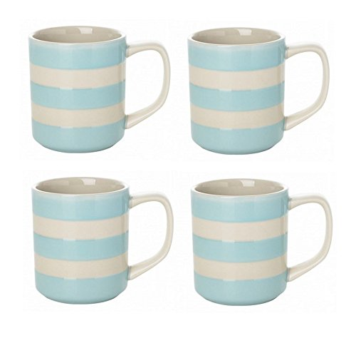 Cornishware Turkish Blue and White Stripe Set of 4 Coffee Cups Mugs, 10oz