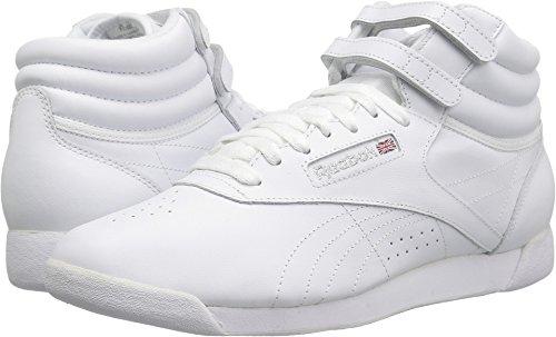 Reebok Lady Freestyle Hi Fitness Shoe (8.5 B(M) US, White/Silver)