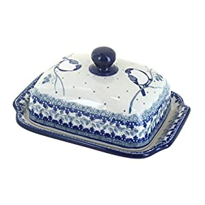 Blue Rose Polish Pottery Bluebird Butter Dish