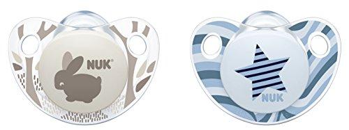 NUK 10176139 Trendline Silikon-Schnuller, Größe 2, 6-18 Monate, kiefergerechte Form, BPA frei, 2 Stück, Boy