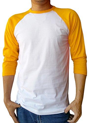 Baseball Tee 3/4 Sleeve Jersey Plain T-Shirt Large White/Yellow (Yellow Baseball Jersey)