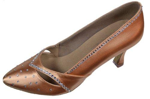 Ladies Women Ballroom Dance Shoes for Latin Salsa Tango Rhinestones S9171 Dark Tan Satin EK11004 2.5'' Heel (7)