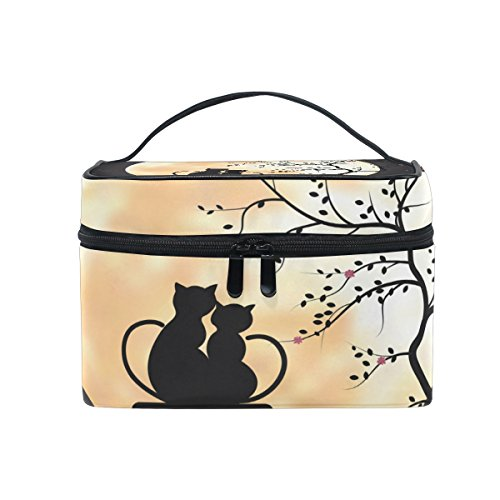 Makeup Bag Moon Cat Couples Travel Cosmetic Bags Organizer Train Case Toiletry Make Up Pouch by FengYe