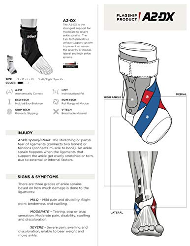 Zamst Ankle Brace Support Stabilizer: A2-DX Mens & Womens Sports Brace for Basketball, Soccer, Volleyball, Football & Baseball,Black,Right,Medium