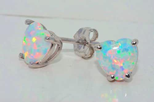 Simulated Opal Heart Stud Earrings .925 Sterling Silver Rhodium Finish