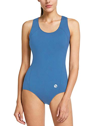BALEAF Women's Conservative Athletic Racerback One Piece Training Swimsuit Swimwear Bathing Suit Sky Blue ()