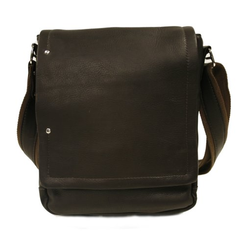 Piel Leather Flap-Over Carry-All, Chocolate, One Size by Piel Leather