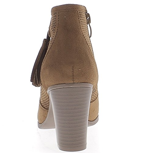 Botas mujer camello baja en grandes 8cm Ver talón suede y pompones