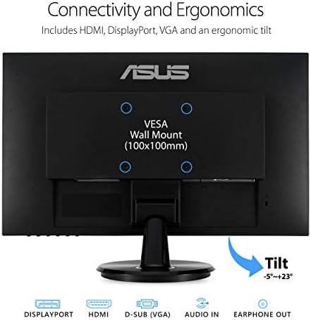 "ASUS VA24DQ 23.8"" Monitor, 1080P Full HD, 75Hz, IPS, Adaptive-Sync/LooseSync, Eye Care, HDMI DisplayPort VGA, Frameless, VESA Wall Mountable, BLACK"