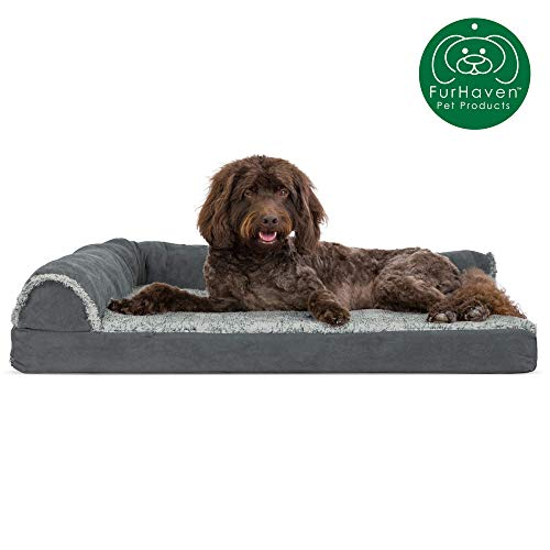 Furhaven Pet Dog Bed | Deluxe Cooling Gel Memory Foam Two-Tone Plush Faux Fur & Suede L Shaped Chaise Lounge Living Room Corner Couch Pet Bed w/ Removable Cover for Dogs & Cats, Stone Gray, Large