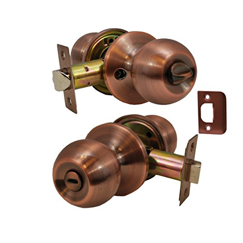 Constructor CON4352 Chronos Privacy Door Lever Lock Knob Handle Set, Antique Copper (Copper Door Handles compare prices)