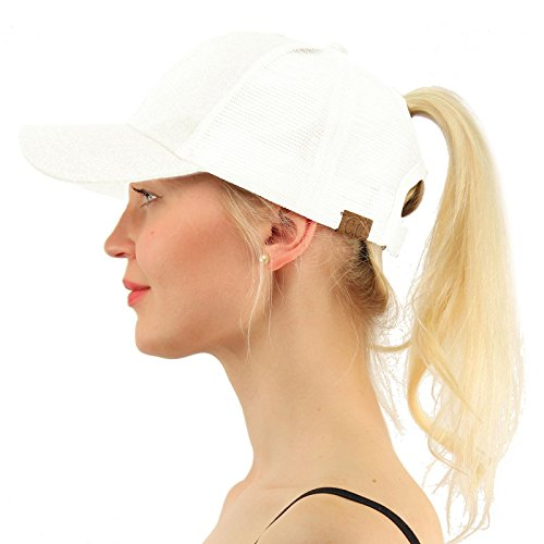 (C.C Ponytail Messy Buns Trucker Ponycaps Plain Baseball Visor Cap Dad Hat Glitter White)