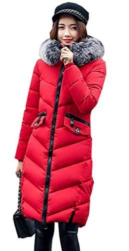 Con Invernali Giovane Lunga Tasche Donna Monocromo In Anteriori Alta Giubotto Moda Cerniera Piumino Women Vita Cappuccio Mantello Caldo Elegante Cappotti Rot Manica Pelliccia zqF5xPAw