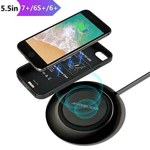 Wireless Charger Set for iPhone 7 Plus/6 Plus/6s Plus, Comes with Wireless Charging Pad and 5.5 Inch Qi Wireless Charging Case(No Battery),7.5W Fast Cordless Charger for iPhone Xs Max/XS/X/8 Plus