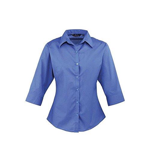 3 femme courtes Popeline uni Chemisier marine Bleu Bleu Femmes manches pour de femme pour Chemise travail 4 Coloris Rqgwtpd