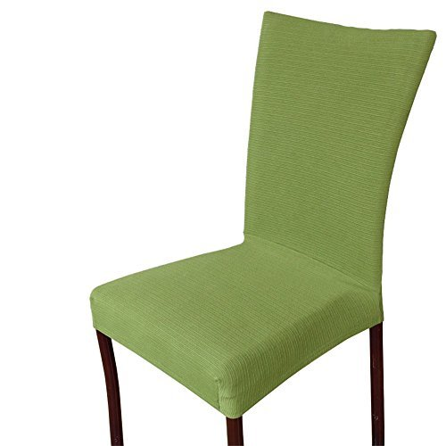 Uleade™ Stripe Weave Stretch Removable Dining Room Chair Protector  Slipcovers ,Green