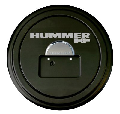 Hummer H2 Rigid Tire Cover & Chrome Dome - Hummer H2 Logo - (Hard Plastic Face & Fabric Vinyl Band) - Fits 2005-2010 Models & Factory Spare Tire Mounted License - Spare Models