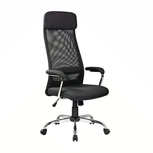 EuroStile High-Back Executive Mesh Office Chair Adjustable Ergonomic Cloth Art Chair Swivel Desk Chair w/Headrest (8206HX-BLACK)