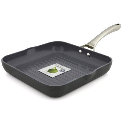 GreenPan San Francisco 10 Inch Hard Anodized Non-Stick Ceramic Square Grill Pan by GreenPan