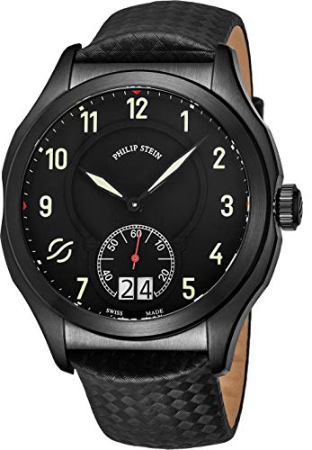 Philip Stein Prestige Big Date Mens Black Stainless Steel Watch - Swiss Made with Luminous Hands and Numbers Black Leather Band - Natural Frequency Technology Provides More Energy and Better Sleep