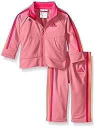 adidas Baby Girls\' Tricot Zip Jacket and Pant Set, Semi Pink Glow, 24 Months