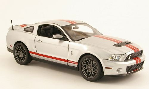 Shelby GT 500, silber/rot, 2011, Modellauto, Fertigmodell, Shelby Collectibles 1:18