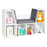 Best Choice Products Multi-Purpose 6-Cubby Kids Bedroom Storage Organizer Bookcase w/Cushioned Reading Nook