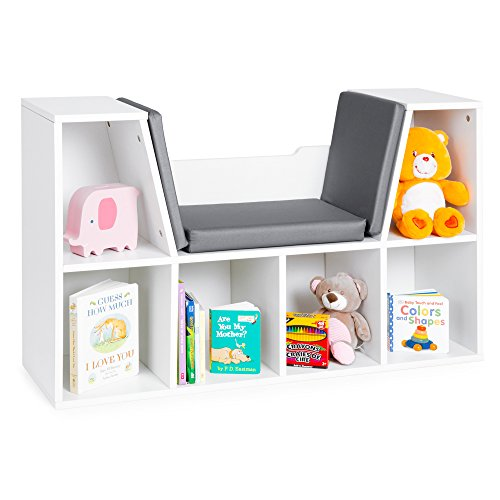 Best Choice Products Multi-Purpose 6-Cubby Kids Bedroom Storage Organizer Bookcases Shelf Furniture Decoration with Cushioned Reading Nook, White (Bedroom Storage Chairs)