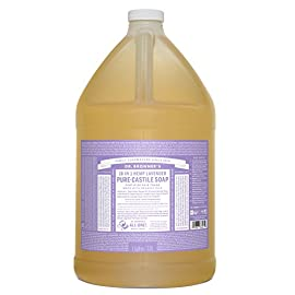 Dr. Bronner's - Pure-Castile Liquid Soap (Lavender, 1 Gallon) 11 MADE WITH ORGANIC OILS and CERTIFIED FAIR TRADE INGREDIENTS: Dr. Bronner's Pure-Castile Liquid Soaps are made with over 90% organic ingredients. Over 70% of ingredients are certified fair trade, meaning ethical working conditions and fair prices. GOOD FOR YOUR BODY and THE PLANET: Dr. Bronner's liquid soaps are fully biodegradable and use all-natural, vegan ingredients that pose no threat to the environment. Our products and ingredients are never tested on animals and are cruelty-free. NO SYNTHETIC PRESERVATIVES, DETERGENTS, OR FOAMING AGENTS: Our liquid soaps are made with plant-based ingredients you can pronounce-no synthetic preservatives, thickeners, or foaming agents-which is good for the environment and great for your skin!