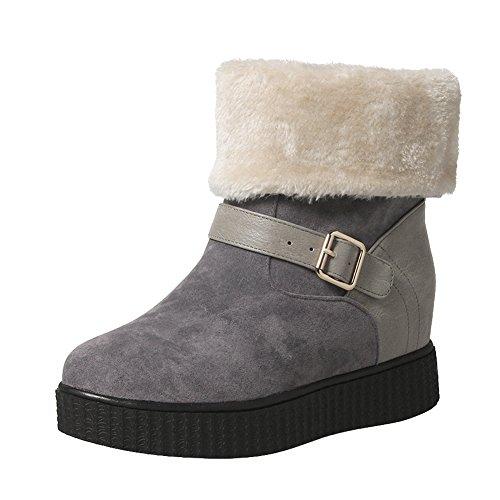 019f930ef19 Carolbar Women s Faux Fur Buckle Warm Comfort Hidden Heel Snow Boots  delicate