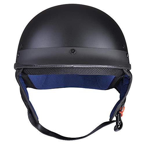 AHR Motorcycle Half Face Helmet DOT Approved Motorbike Cruiser Chopper Matt Black XL