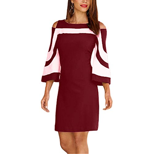 SEBOWEL Women's Chic Colorblock Casual Cold Shoulder Bell Sleeve Elegant Mini Dress Burgundy-L