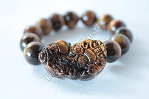 Chinese Nature Tiger Eye Bead Dragon Pi Xiu Pi Yao Lucky Bracelet Bangle Feng Shui Protection ()