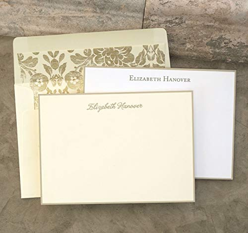 Taupe Hand Bordered Correspondence Cards - Set of 25-3503 by American Stationery (Image #1)'