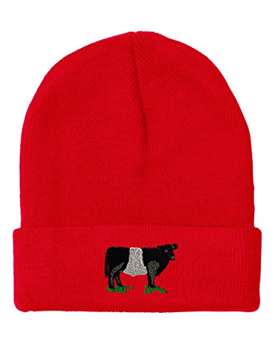 Belted Galloway COW Embroidery Embroidered Beanie Skully Hat Cap - Beanie Cow