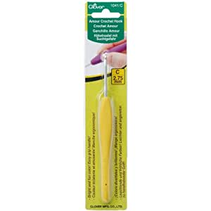 Clover 1041/C Yellow Amour Crochet Hook, Size C, 2.75mm