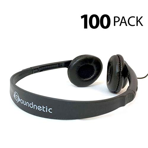 Classroom Stereo Budget Headphones with Leatherette Earpads Volume Control - 100 Carton