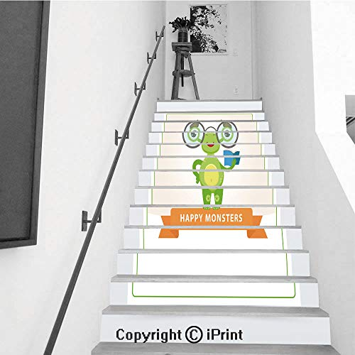 13Pcs Stair Sticker Decals 3D Creative Building Stair Risers Tiles Wallpaper Mural Self-Adhesive,Cute Funny Green Monster with Glasses and Book Happy Monsters Banner Cartoon Vector Element for websi