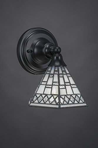"""Toltec Lighting 40-MB-9105 Wall Sconce with 7"""" Pewter Tiffany Glass, Matte Black Finish"""